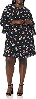Eliza J womens Floral Print A-Line Dress Casual Dress