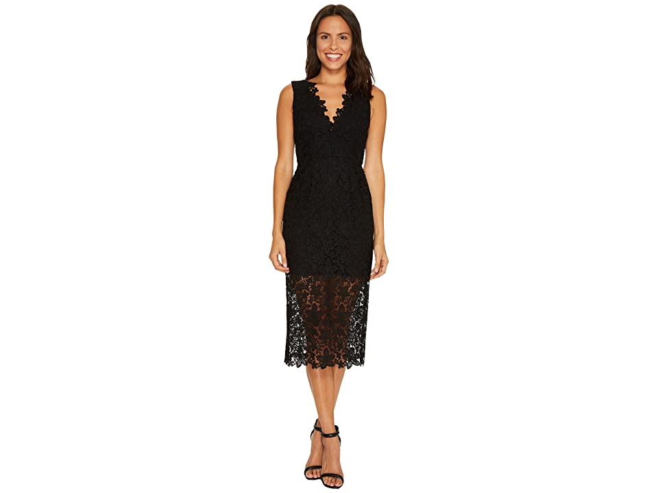 JILL JILL STUART All Over Lace Deep-V Midlength Dress (Black) Women