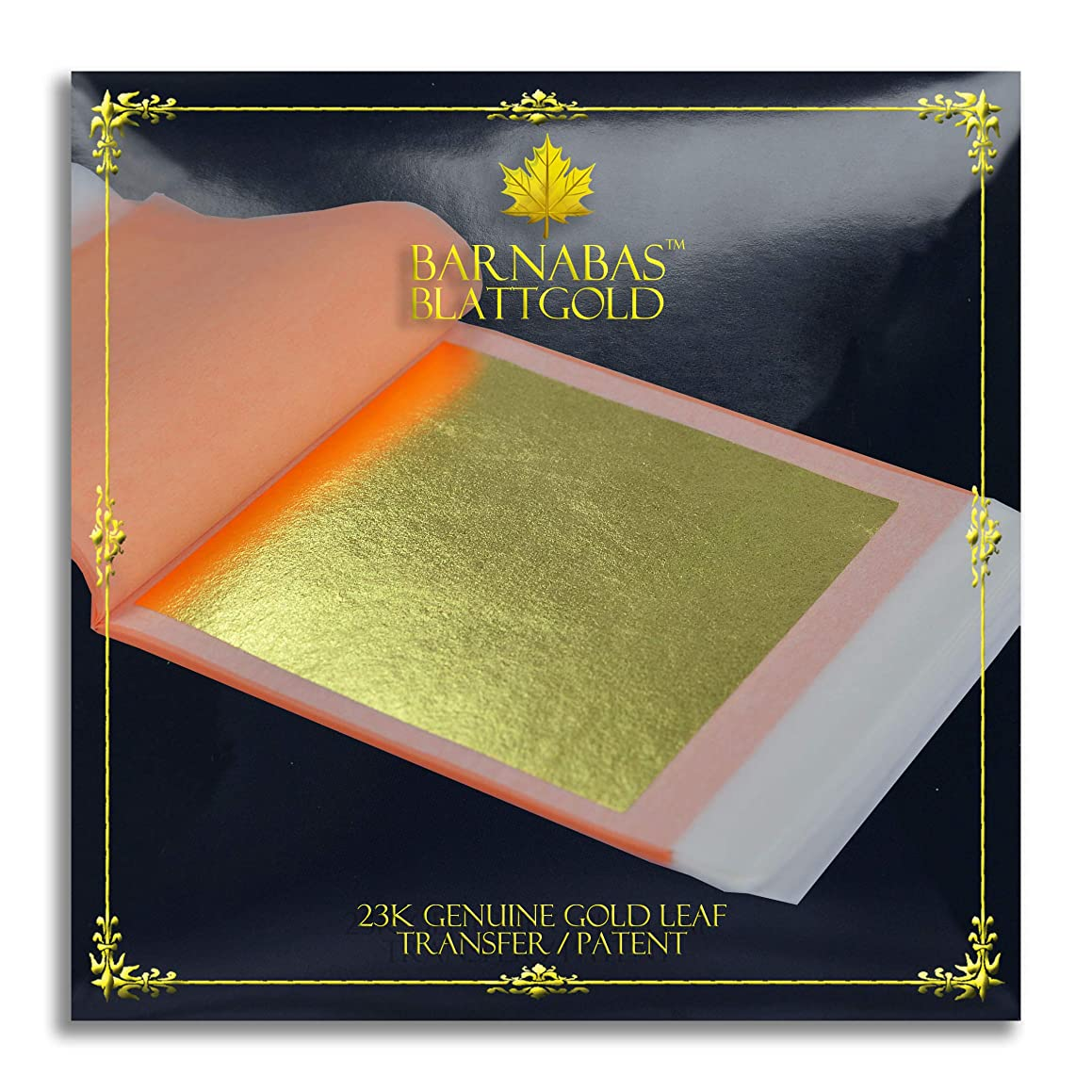 Genuine Gold Leaf Sheets 23k - by Barnabas Blattgold - 3.4 inches - 10 Sheets Booklet - Transfer Patent Leaf