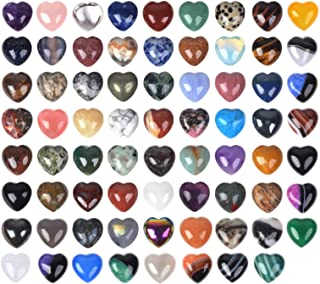 JUST IN STONES Assorted Gemstone Mini 20mm Puffy Heart Healing Crystal Pocket Stone Rock Collection Box (Pack of 24)