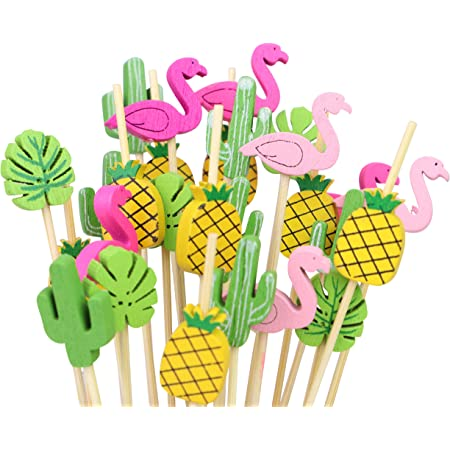 50 plastic BAMBOO Chopsticks-jungle Hawaiian Buffet Food Cocktail ornaments