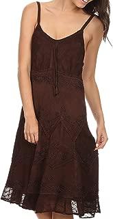 Stonewashed Rayon Adjustable Spaghetti Straps Mid Length Dress
