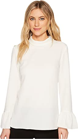 Ellen Tracy - Cloque Mock Tie Back Neck Blouse