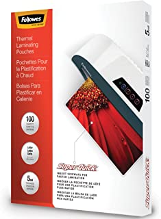 "Fellowes Laminating Pouches, Thermal, SuperQuick 11.5""(H) x 9""(W) Size, 5 Mil, 100 Pack (5223001)"