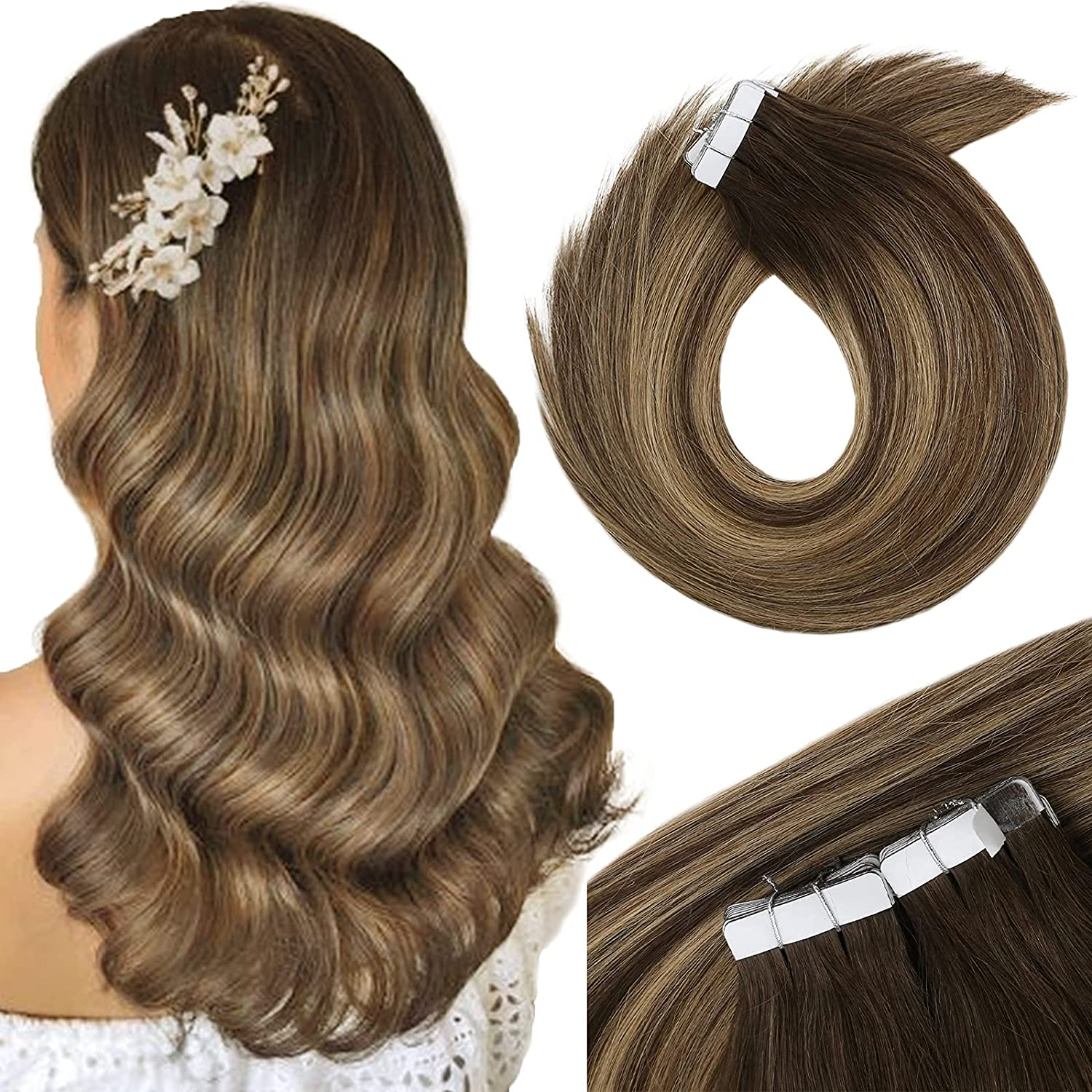 VeSunny Tape in Japan's largest assortment Hair Extensions Brown New color Human Silky Balayage