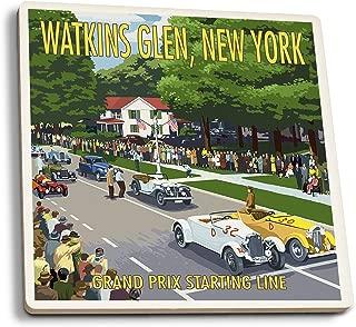 Lantern Press Watkins Glen State Park, New York - Grand Prix Starting Line (Set of 4 Ceramic Coasters - Cork-Backed, Absorbent)