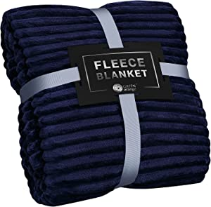 Fleece Blanket Queen Size – 90x90, Lightweight, Navy Blue – Soft, Plush, Fluffy, Warm, Cozy – Perfect Full Size Throw for Couch, Bed, Sofa