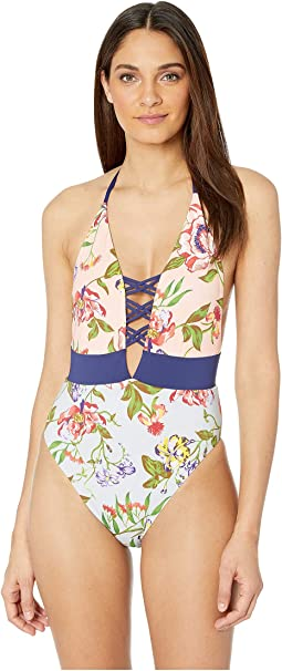 Garden Vines Plunge High Leg One-Piece