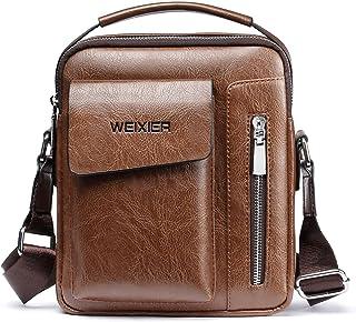 FEOYA Men Shoulder Leather Bag Messenger Casual Crossbody Bag for Travel Business Work Adjustable Pack Purse Birthday Fath...