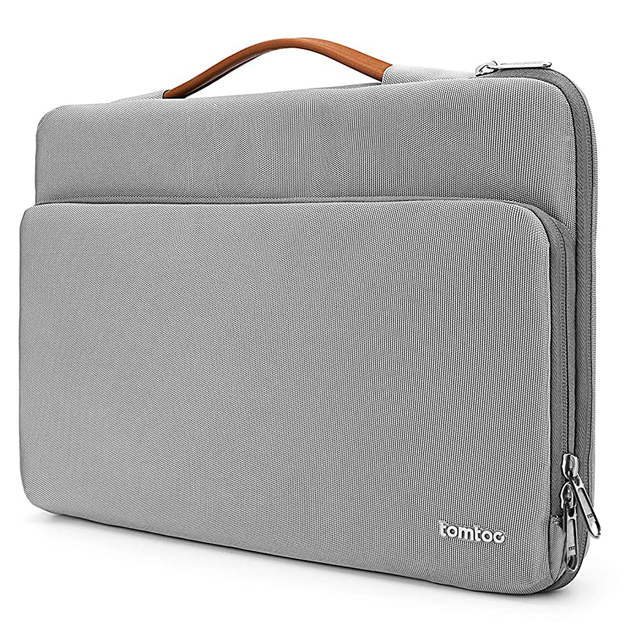 tomtoc 360° Protective Laptop Sleeve for 15-15.6 Inch HP | Dell | Asus | Acer | Thinkpad | Samsung Laptops Ultrabooks Notebooks, Spill-Resistant 15.6 Inch Laptop Tablet Briefcase, Gray