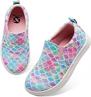 JIASUQI Kids Girls Boys Slip on Running Canvas Fashion Sneakers Athletic Baby Walking Shoes