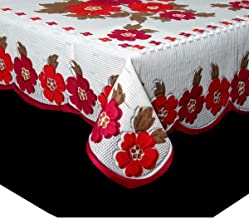 Kuber Industries™ Center Table Cover White Cloth Net for 4 Seater 40 * 60 Inches (Pink Flower Design) Code-CTC03