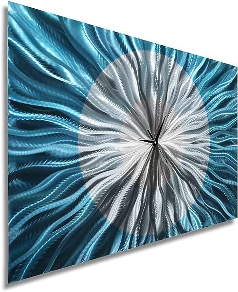 Statements2000 Large Modern Metal Wall Art Clock By Jon Allen Aqua Blue Silver 36 X 24 Catwalk Aqua