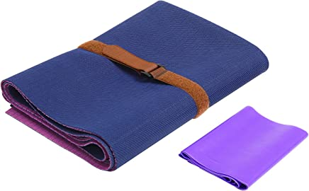 FrenzyBird 1mm Travel Yoga Mat/Towel with Mat Bind and Elastic String,Non-Slip,Light Weighted,Foldable,Eco Friendly,Ideal for Hot Yoga,Bikram,Pilates,Barre, Sweat