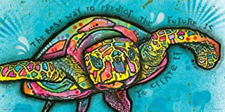 Dean Russo Turtle Create Future Quote Modern Animal Decorative Art Print (Unframed 12x24 Poster)