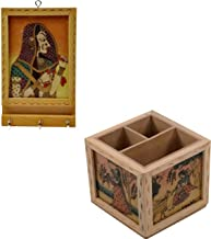 SAARTHI Rajasthani Handpainted Wooden Revolving Gemstone Painted Pen Pencil Stand/Card Holder (Multicolour)