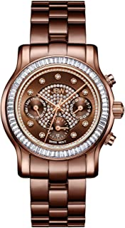 JBW Luxury Women's Laurel 9 Diamonds & Swarovski Crystal Baguette Bezel Watch