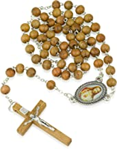 Marina Jewelry Genuine Olive Wood Necklace Rosary,Sacred Heart Center,Silver Plate Chain,Wood Crucifix