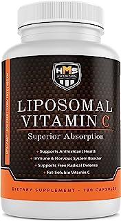 HMS Nutrition Premium 1600mg Liposomal Vitamin C - Fat Soluble - Non-GMO - Soy, Dairy, Gluten Free - 180 Ca...