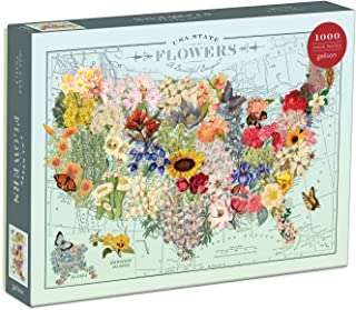 "Galison Wendy Gold USA State Flowers Puzzle, 1,000 Pieces, 20"" x 27"" – Jigsaw Puzzle Featuring a Colorful Illustration by Wendy Gold – Thick Sturdy Pieces, Challenging Family Activity, Great Gift Idea"