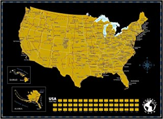 "Scratch Off Map of The United States of America with State Flags on Black Background, 24"" x 18"". Scratch Off USA Map, Perfect Gift for Travelers. US Scratch Travel Map Scratch Off Wall Map Poster."