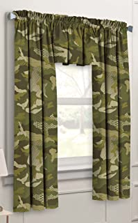 Dream Factory Geo Camo 3-Piece Camouflage Kids Bedroom Curtain Panel Set, Green, 63-Inch