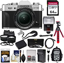 Fujifilm X-T30 Wi-Fi Digital Camera & 18-55mm XF Lens (Silver) with 64GB Card + Battery + Charger + Tripod + Flash + Backpack + 2 Lens Kit