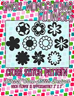 Small Monochrome Flowers Cross Stitch Pattern - Great for Embellishing - One Color Floral