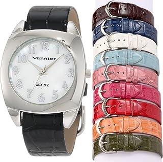 Vernier Womens VNR666572 10 Pieces Interchangeable Polyurethane Strap Quartz Watch