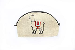Alpaca makeup bag Small embroidered llama cosmetic bag for women Linen zippered pouch