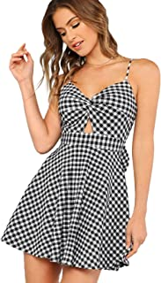 Women's Twist Front Knot Back Bow Striped Cami Skater Dress