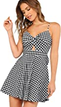 Floerns Women's Twist Front Knot Back Bow Striped Cami Skater Dress