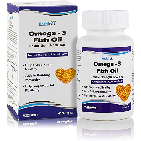 Healthvit Omega 3 Fish Oil Double Strength (EPA & DHA) 1000mg 60 Softgels for Healthy Heart, Joints & Body