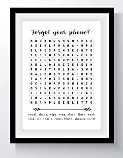 "Funny Bathroom Word Search Puzzle Wall Art - 11x14 UNFRAMED Black and White Saying Decor Print. ""Forget Your Phone?"""