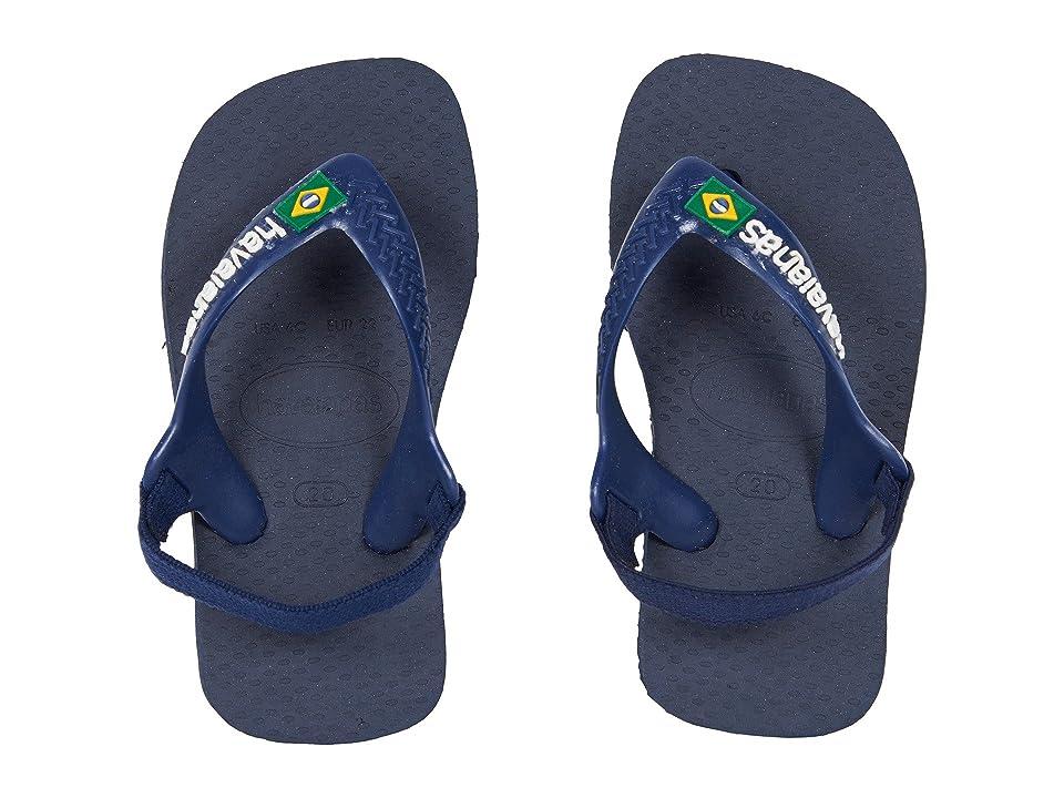 Havaianas Kids Baby Brazil Logo Flip-Flop (Toddler) (Navy Blue/Citrus Yellow) Boys Shoes