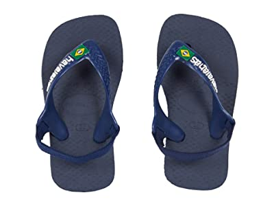 Havaianas Kids Baby Brazil Logo Flip-Flop (Toddler) (Navy Blue/Citrus Yellow) Boys Shoes