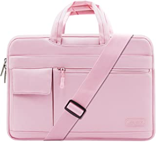 MOSISO Laptop Shoulder Bag Compatible with 13-13.3 inch MacBook Pro, MacBook Air, Notebook Computer, Polyester Flapover Briefcase Sleeve Case, Pink