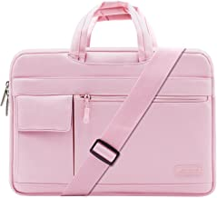 MOSISO Laptop Shoulder Bag Compatible with 13-13.3 inch MacBook Pro, MacBook Air, Notebook Computer, Protective Polyester Flapover Messenger Briefcase Carrying Handbag Sleeve Case Cover, Pink
