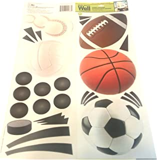 Sports Ball Jumbo Wall Stickers by Main Street Wall Creations - Sports Decals, Kid's Room Decor, Removable Stickers.