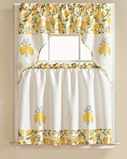 RT Designers Collection Lemon Tier and Valance Urban Embroidered Tier & Valance Kitchen Curtain Set