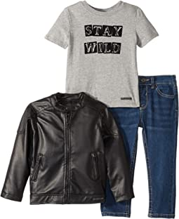 Poly Faux Leather Biker Jacket with Heather Jersey Top with Flocking, Stretch Denim Jeans (Infant)