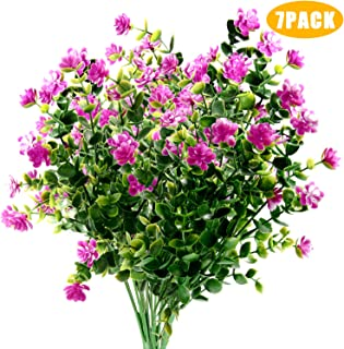 Woaiwo-q Artificial Flowers Artificial Plants Fake Flowers Fake Plants UV Resistant Plastic Plants for Outdoor Indooror,Garden,Weeding Decoration, Purple(7 Pack)