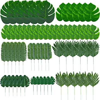 Cooraby 68 Pieces 9 Kinds Artificial Palm Leaves Luau Party Decoration Faux Monstera Leaves Stems Tropical Plant Simulation Safari Leaves for Hawaiian Luau Party Jungle Beach Theme Birthday Party