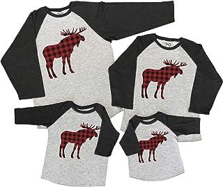 7 ate 9 Apparel Matching Family Christmas Shirts - Plaid Moose Grey Shirt