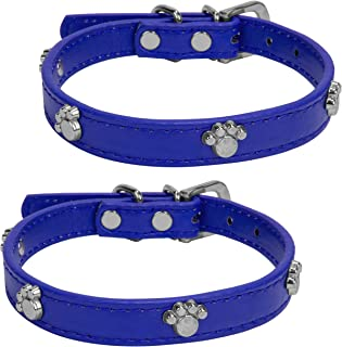 VanGoddy Accessories Strong Leather Dog Collar with Paw Print Design for Small Medium Large Dogs, 2 Pack