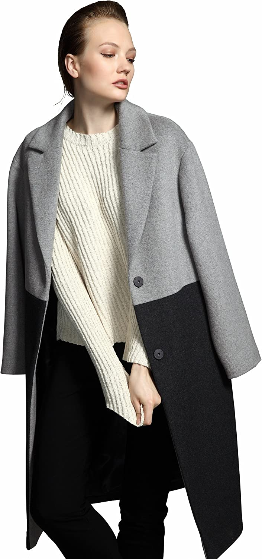 YueSpace Women's Grey colorblock Wool Casual Coat