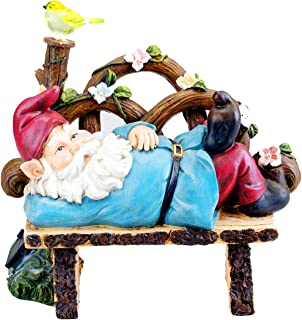 Bo-Toys Solar Powered Gnome Laying On a Bench LED Garden Light Decor