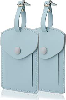 Kevancho Leather Smart Luggage Tags for Men Women, Suitcase Labels Baggage Tote Bag Tag ID Tags with Full Back Privacy Cover for Carnival Cruise Ships, Away Travel Accessories Tags Set of 2 PCS (Blue)