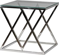 "Cortesi Home CH-ET636948 Gwen Contemporary Glass End Table, 21.75"", Silver"