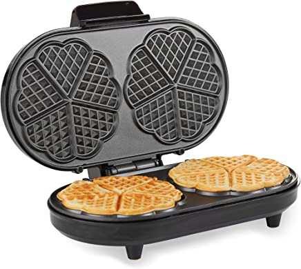 Andrew James Waffle Maker | Round Waffle Maker Machine with Adjustable Temperature & Non-Stick Plates | Makes Thin & Crispy Scandinavian Waffles with Heart-Shaped Sections | 1200W